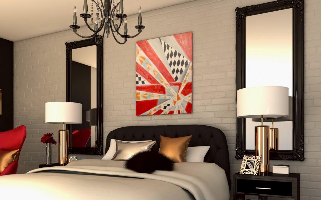 Aranżacja seksownej sypialni w stylu Glamour.